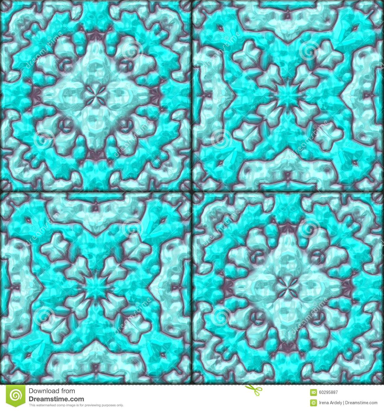 Turquoise Blue Floral Ceramic Tiles Seamless Pattern