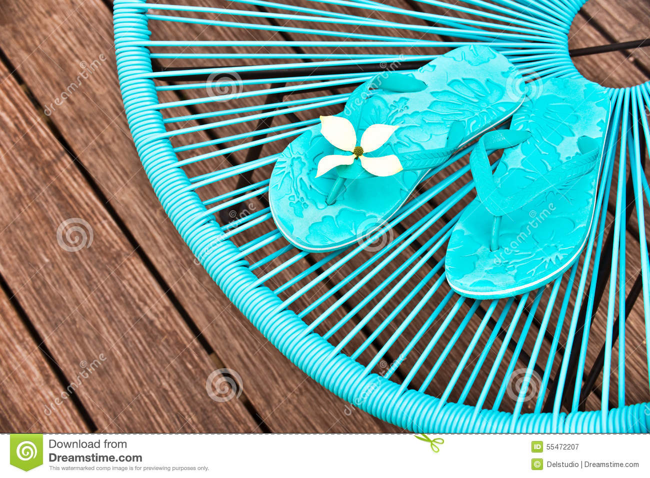 Flip Flop Chair Turquoise Blue Garden Chair And Flip Flops Stock Photo Image