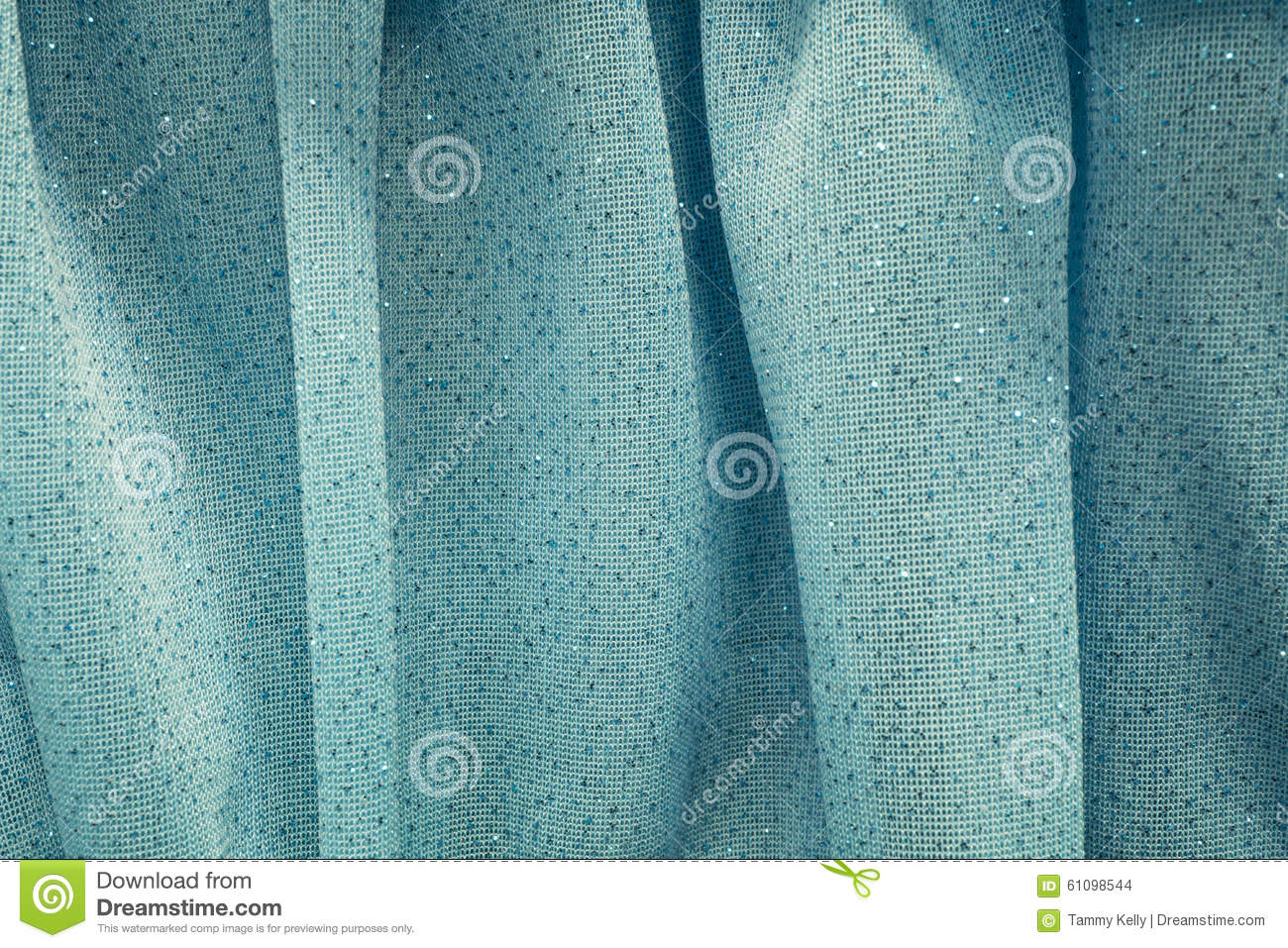 Turquoise Blue Sheer And Sparkly Curtains Stock Photo