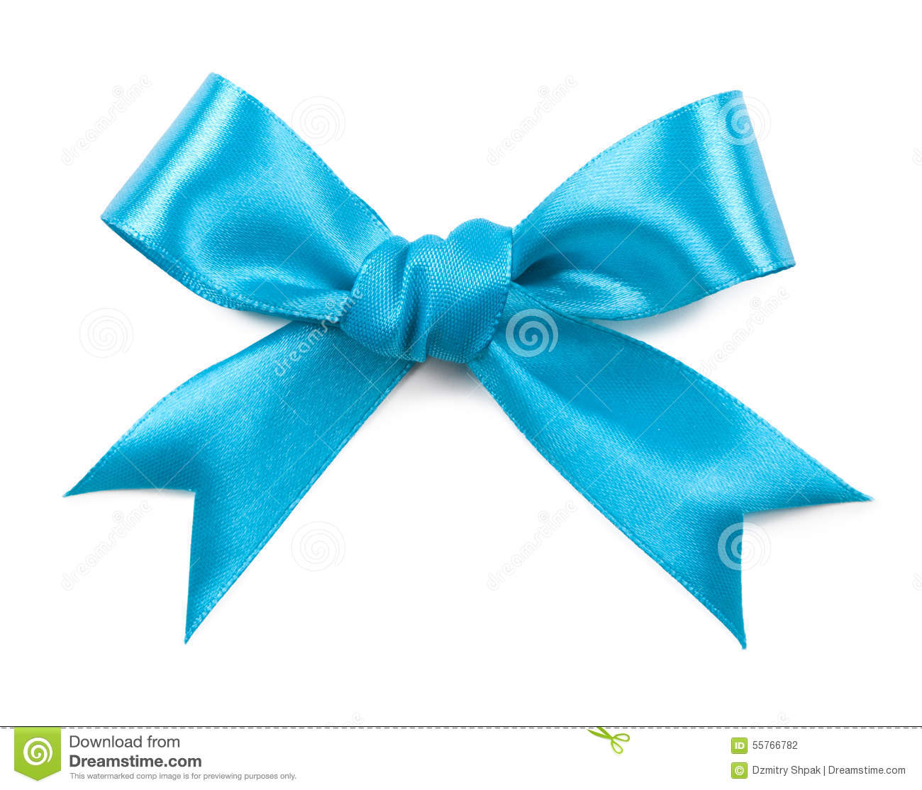Turquoise bow isolated on white background