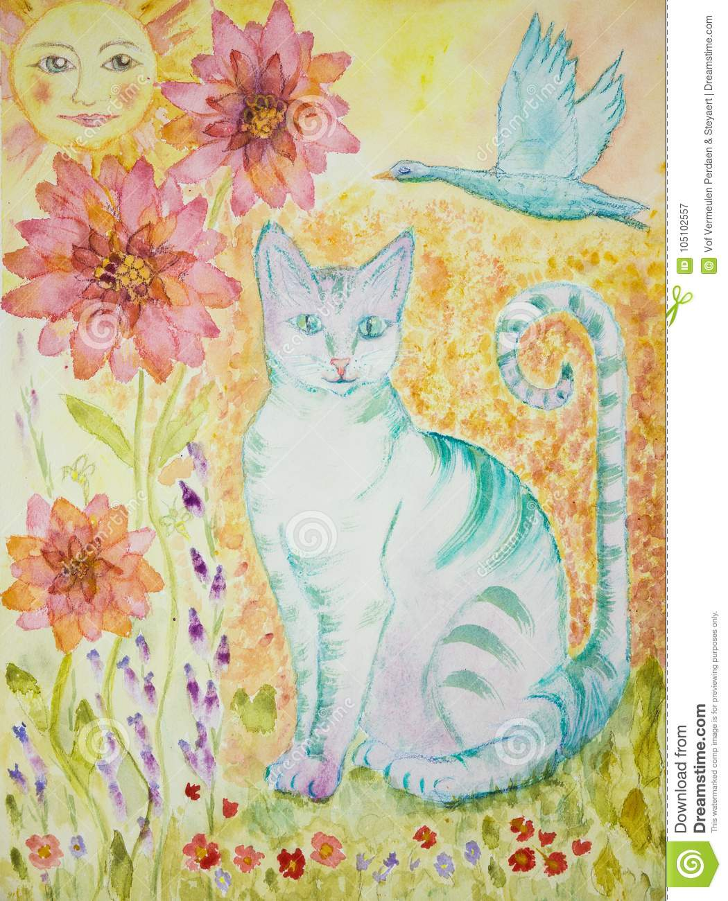 Turquoise Cat With Greenish Eyes, Flying Goose, Sun And Flowers ...