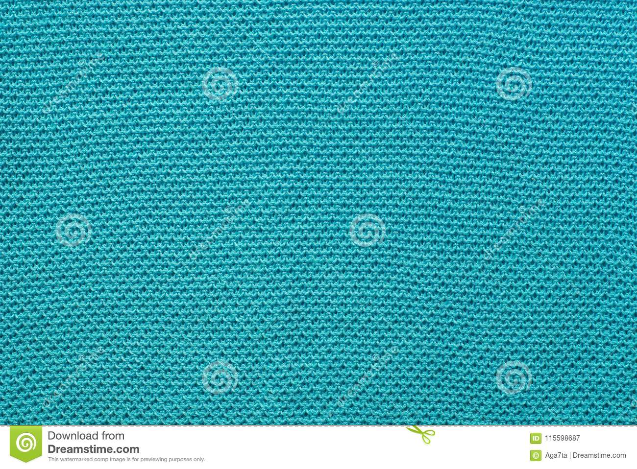 Turquoise Knitwear Cotton Fabric Background Texture Stock Image