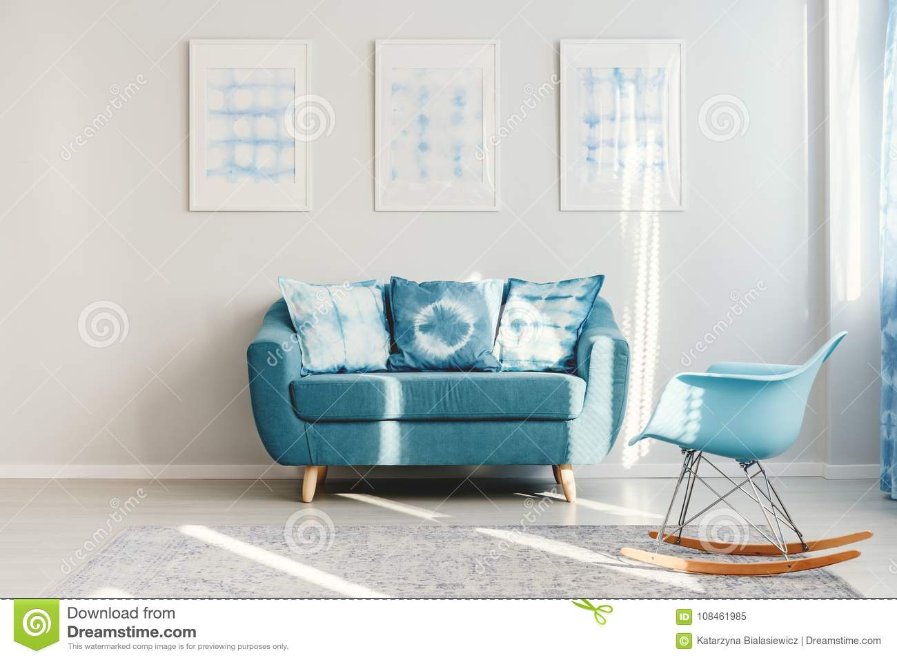 Turquoise Couch In Daily Room Stock Image - Image of room, blue ...