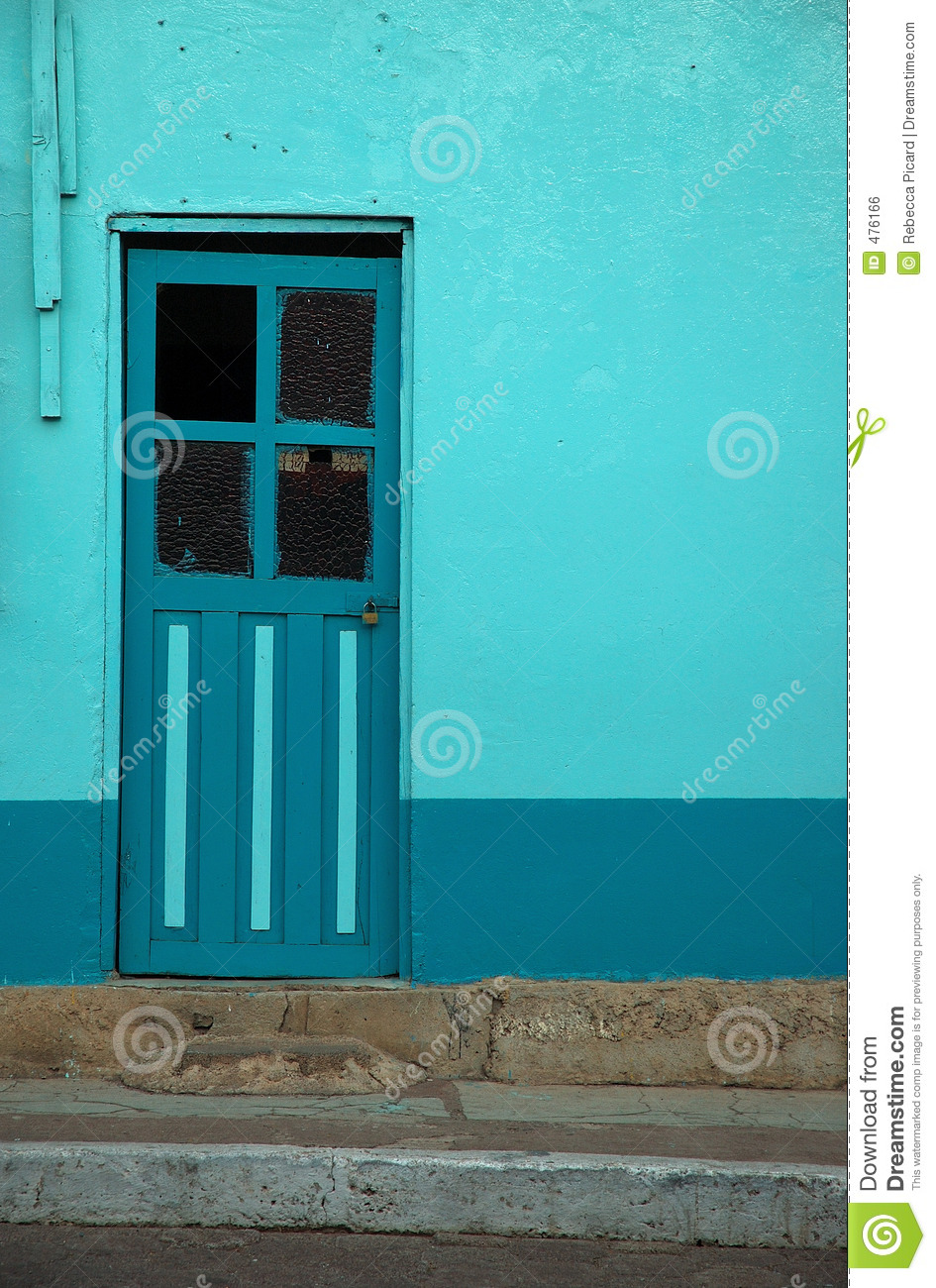 turquoise door stock photo. image of bench, street, vacation - 476166