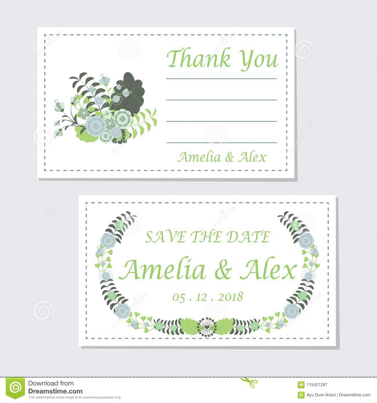 turquoise flowers wedding tag set vector design template stock