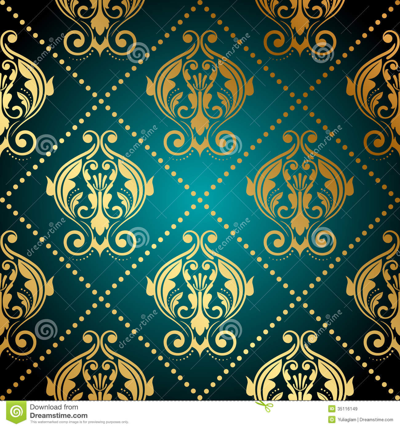 Turquoise And Gold Ornate Wallpaper Stock Vector