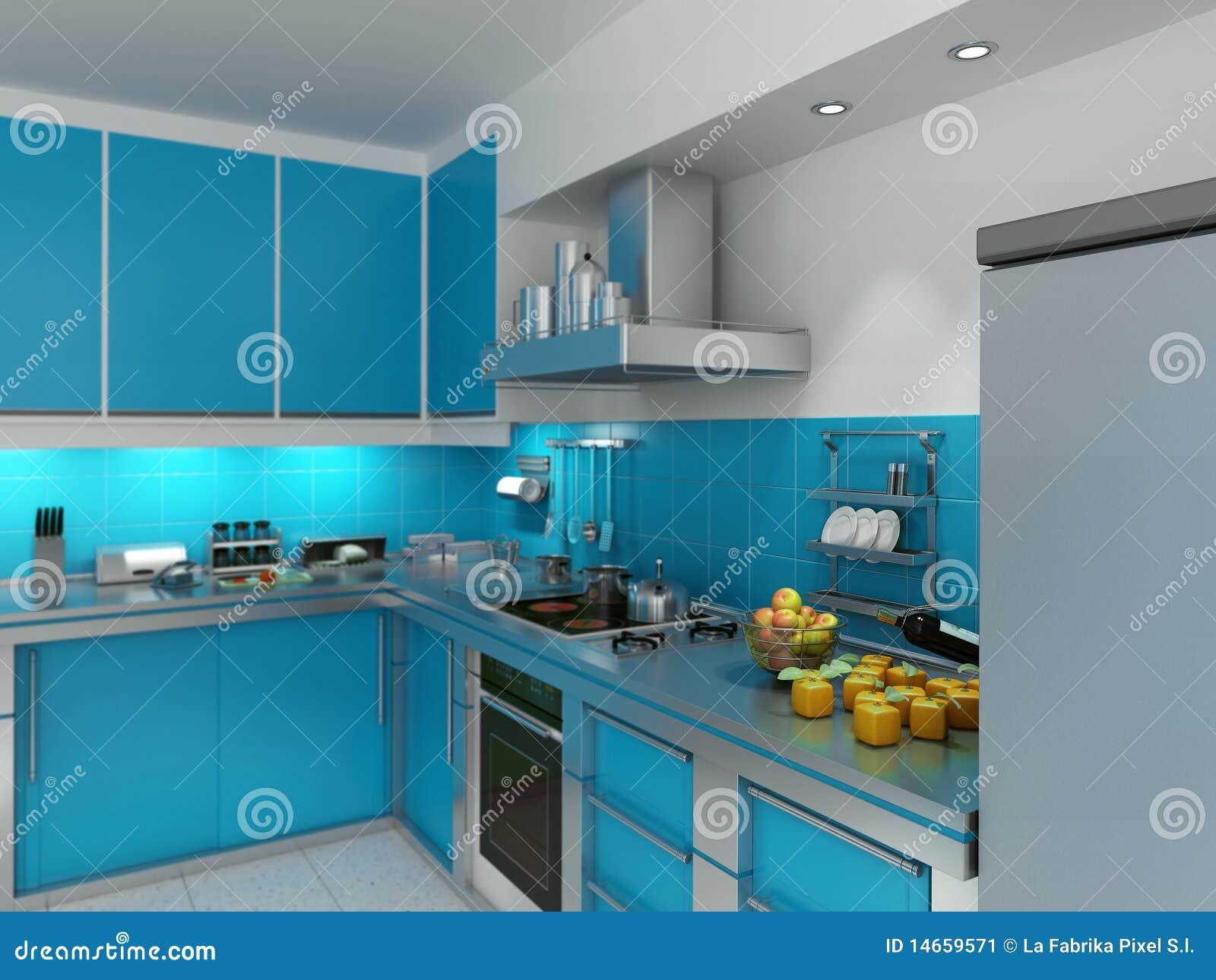 Turquoise kitchen stock illustration. Illustration of knives - 14659571
