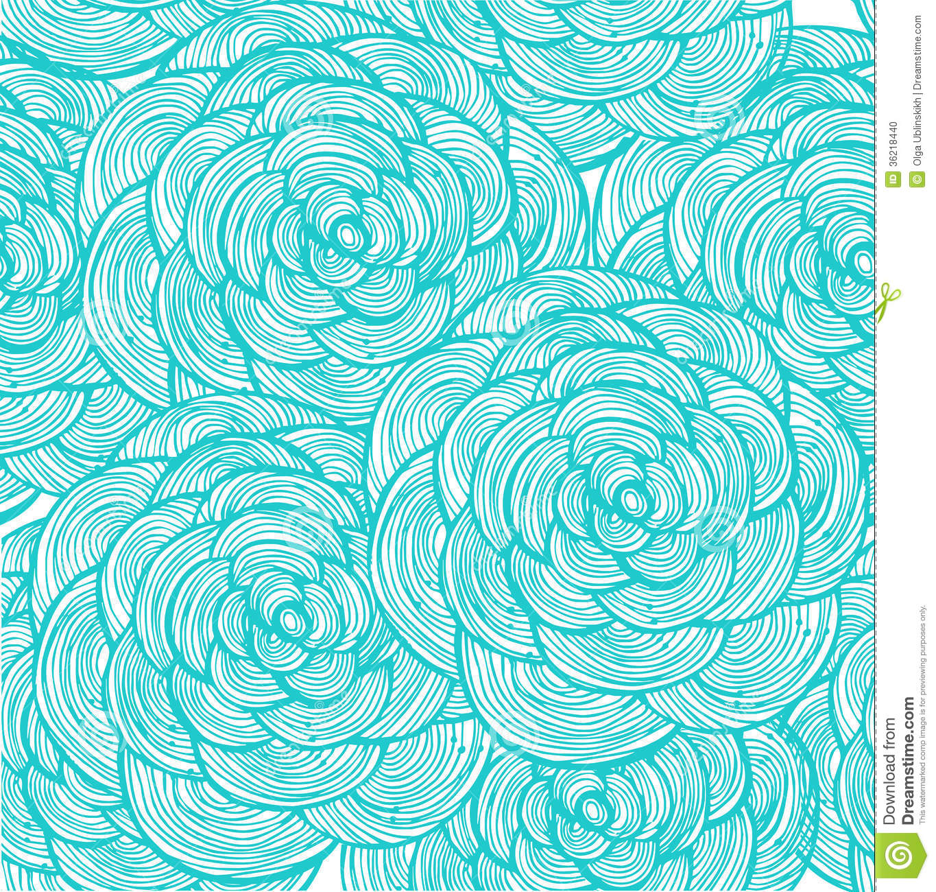 Turquoise Linear Flowers Background Stock Photo - Image: 36218440