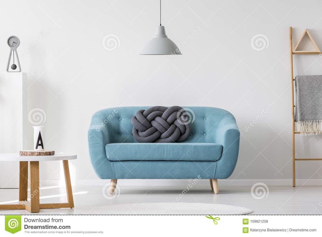 Turquoise Living Room Interior Stock Photo - Image of lamp, coaster ...
