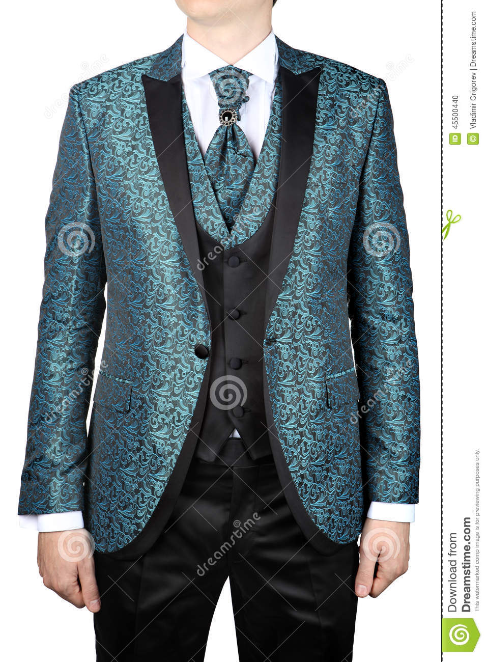 Turquoise Mens Suit With Floral Pattern, For Wedding Or Prom Stock