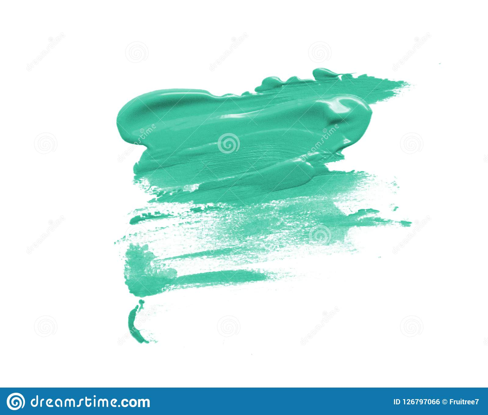 Turquoise beautiful paint brush spot stroke on isolated white background