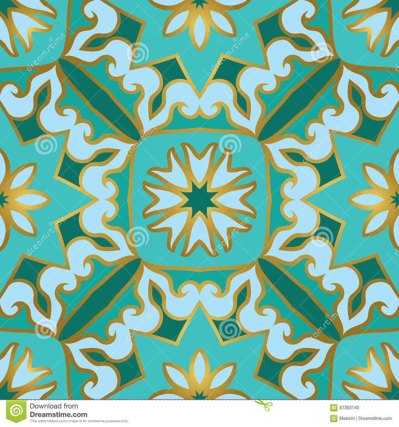Turquoise Pattern For Tiles. Stock Vector - Illustration of abstract ...