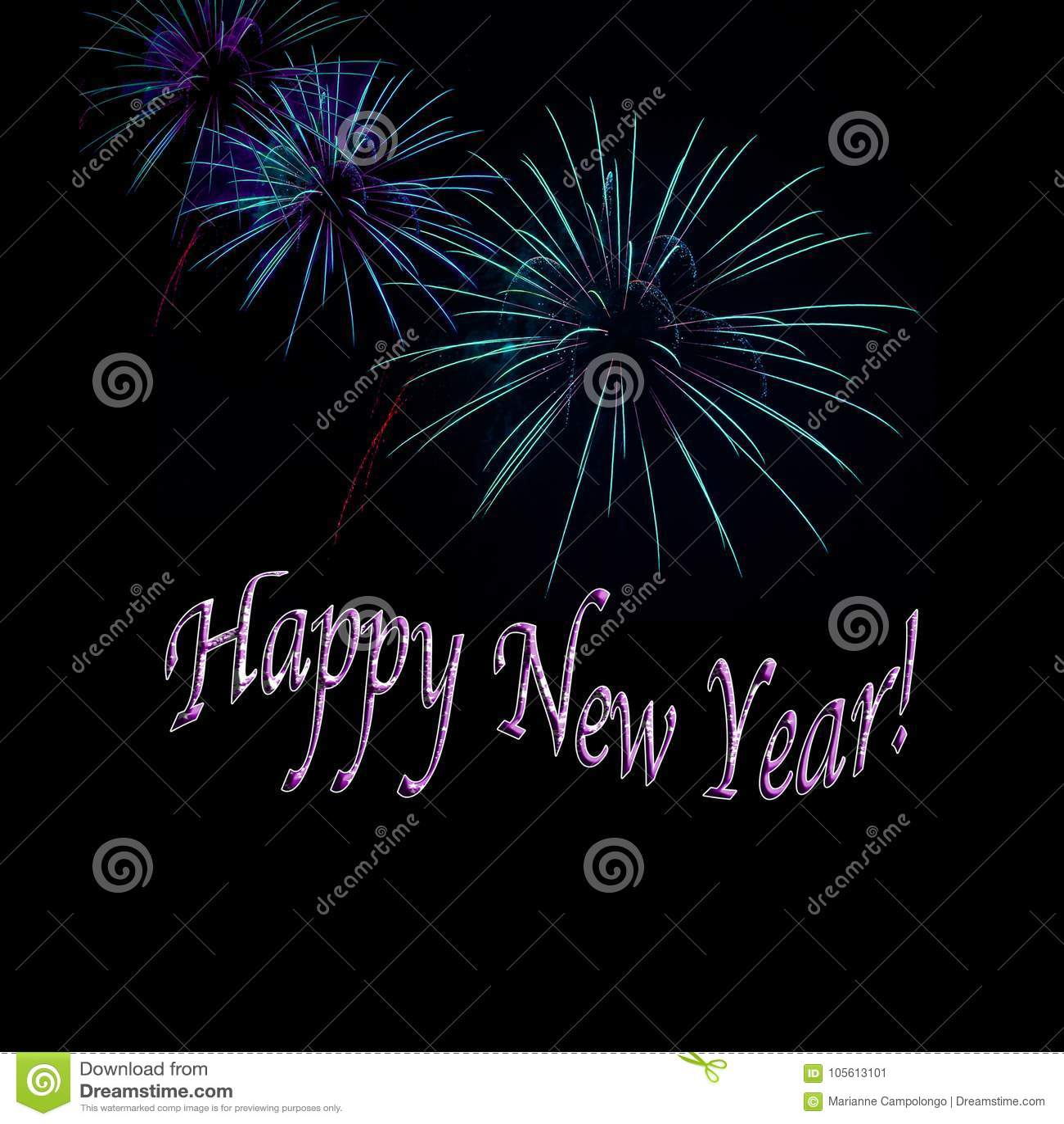 Aqua and Purple Fireworks Happy New Year