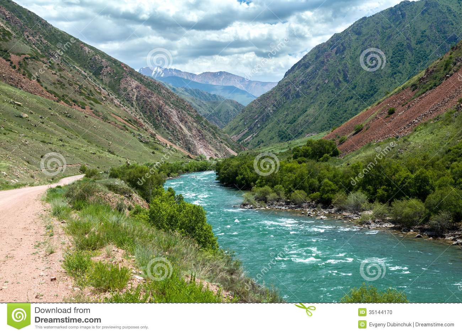 Turquoise River Kekemeren In Tien Shan, Kyrgyzstan Stock Photo ...