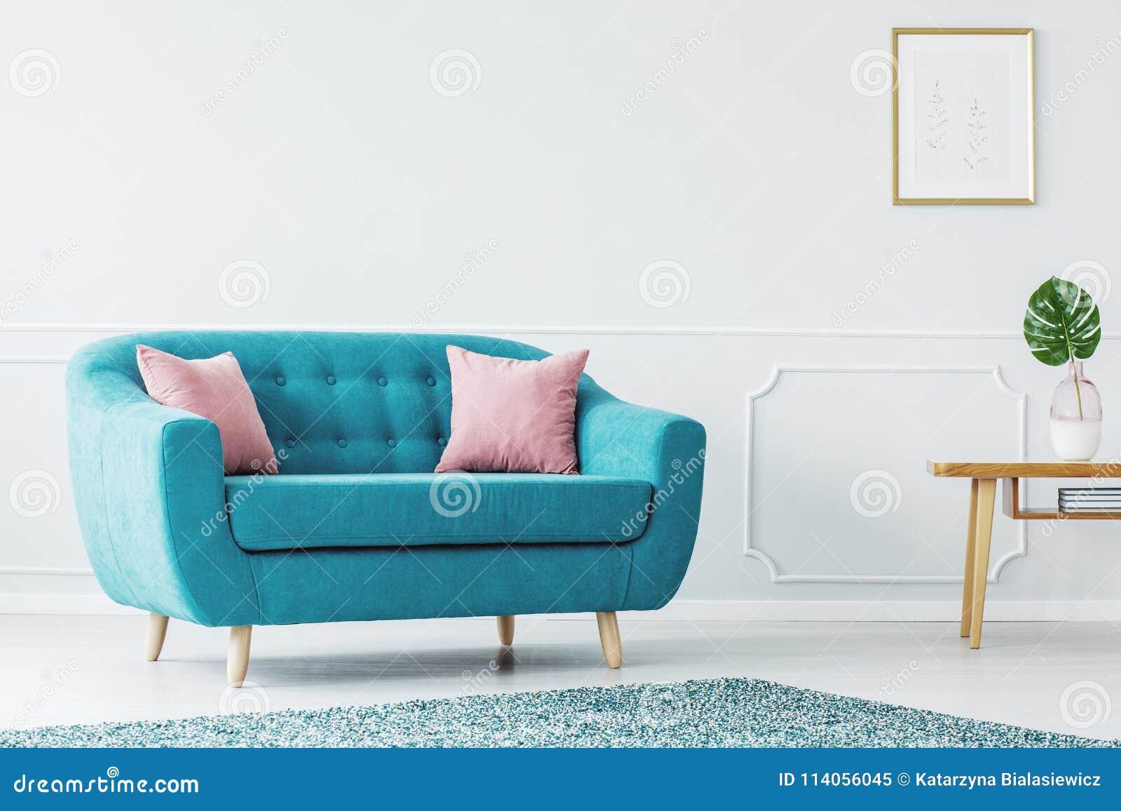 Turquoise Sofa In Minimalist Interior Stock Image - Image of ...