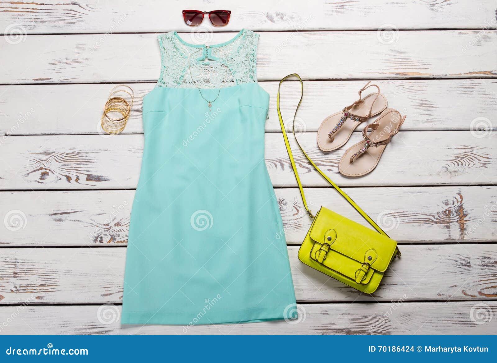 Turquoise Summer Dress. Stock Photo - Image: 70186424