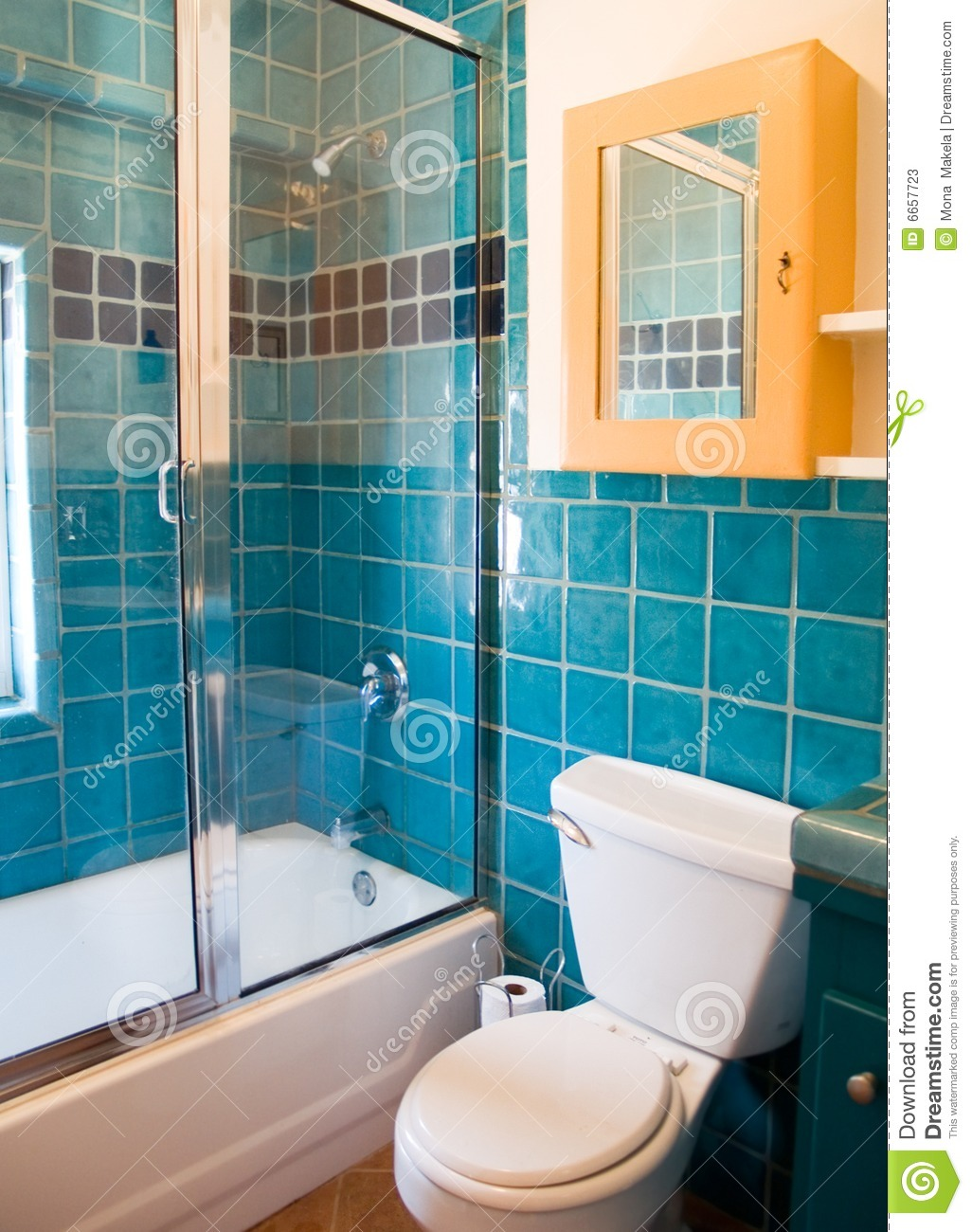 Turquoise tile work in a bathroom stock photos image - Turquoise bathroom floor tiles ...