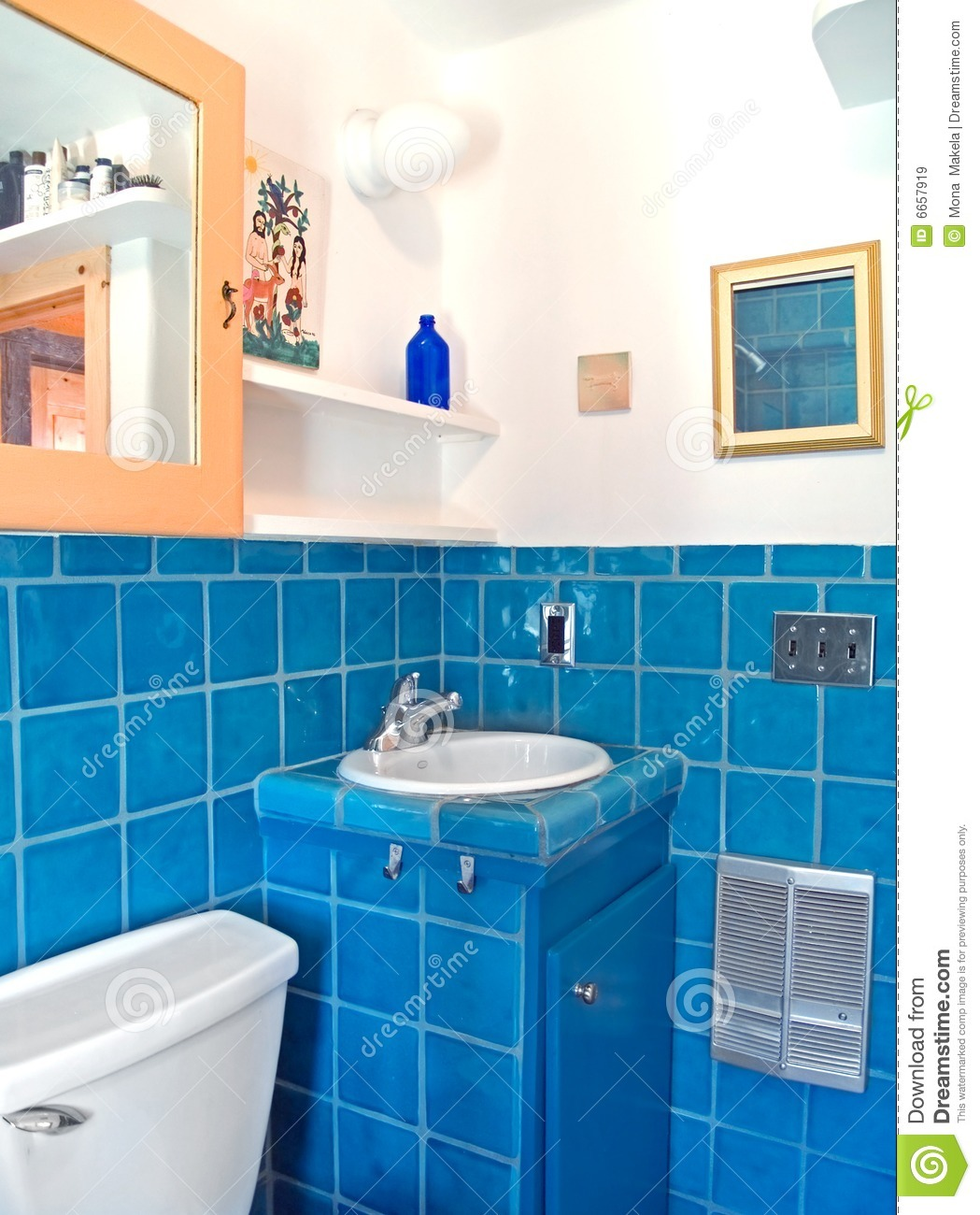 Turquoise Tile Work In A Bathroom Stock Image Image 6657919