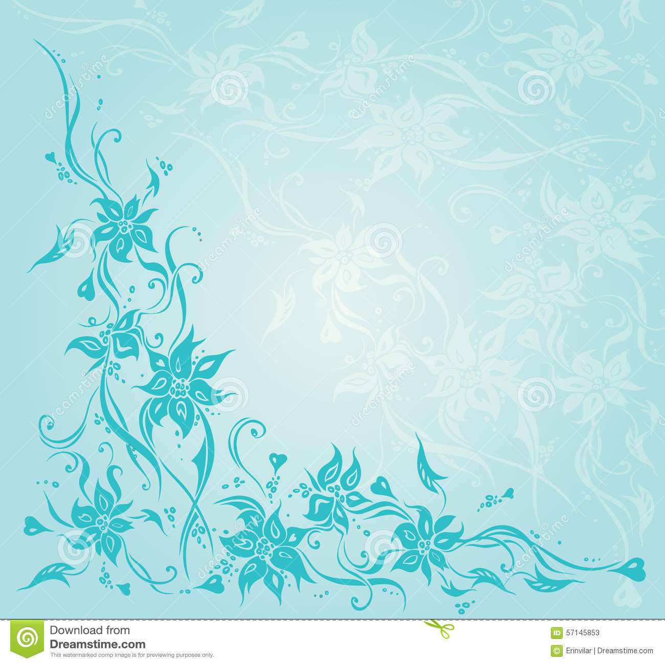 Turquoise Vintage Floral Invitation Wedding Background Design Stock