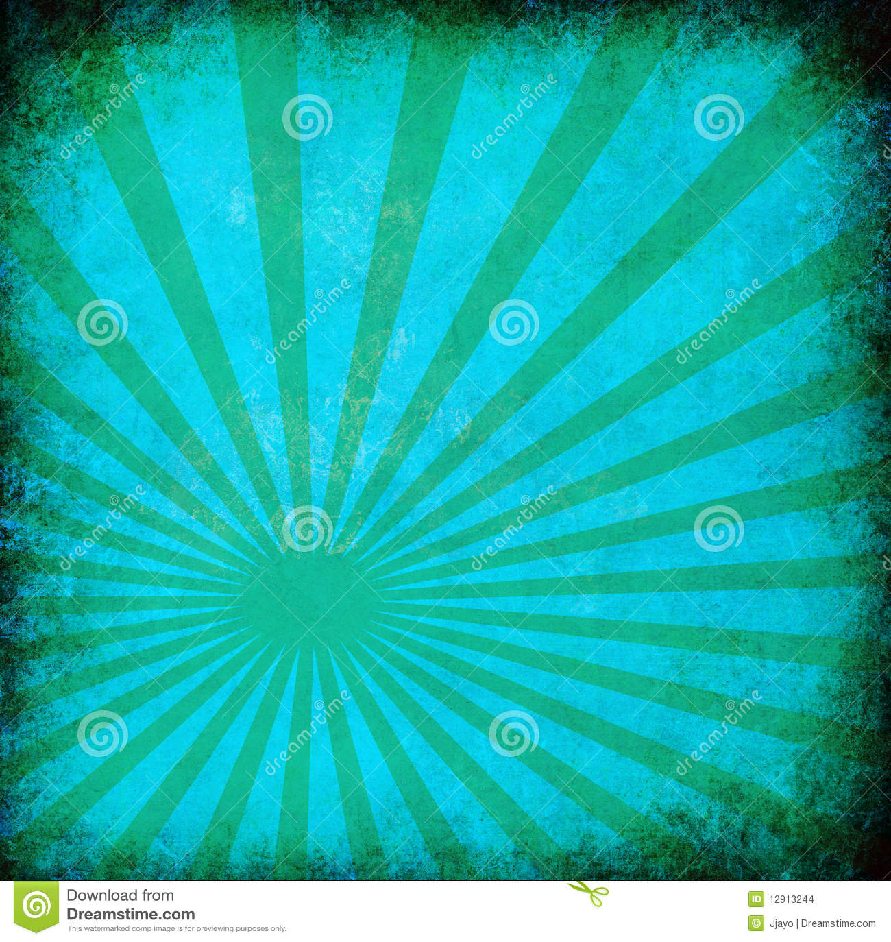 Turquoise vintage grunge background with sun rays