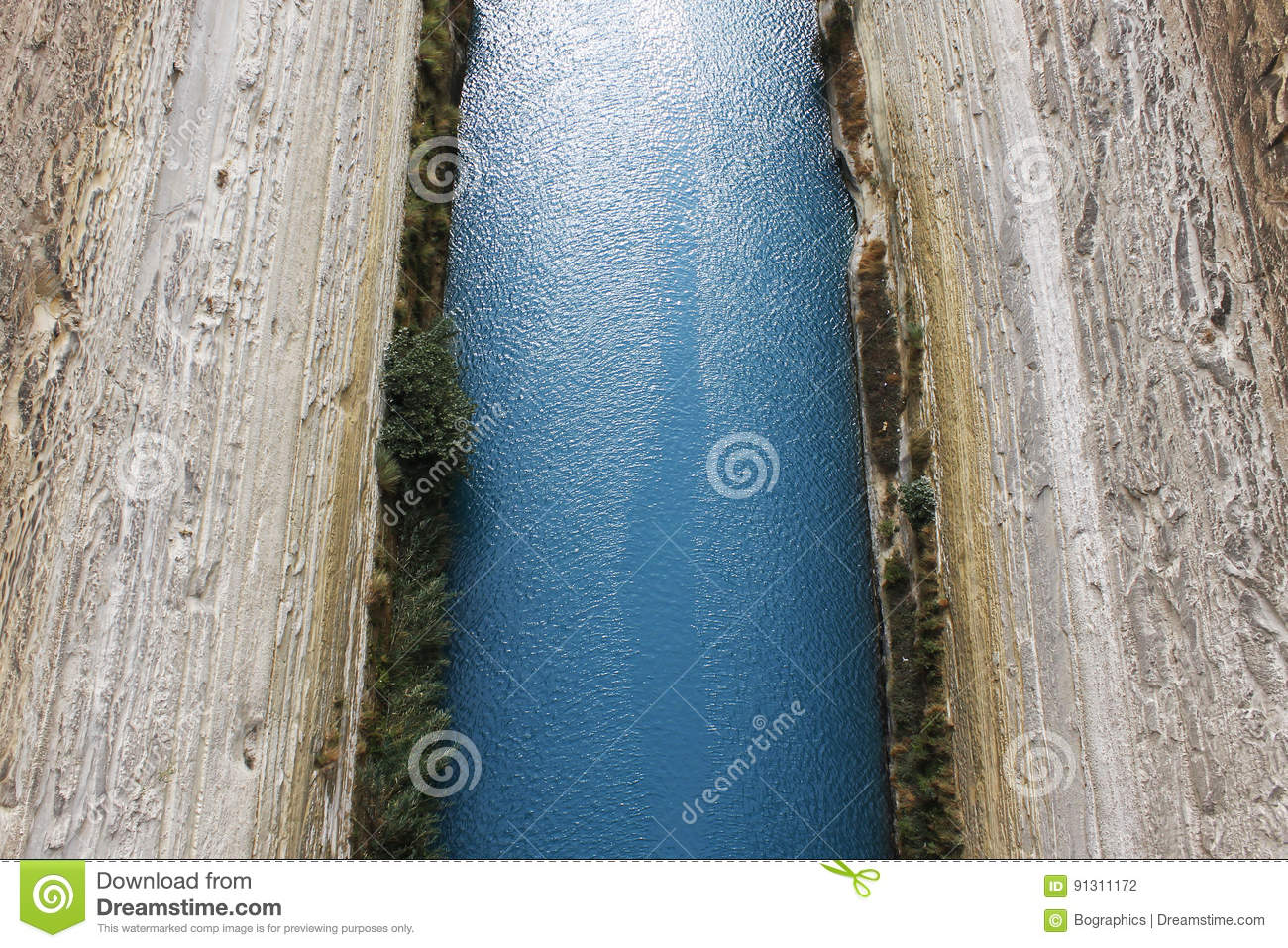 Turquoise water from Corinth Canal in Greece