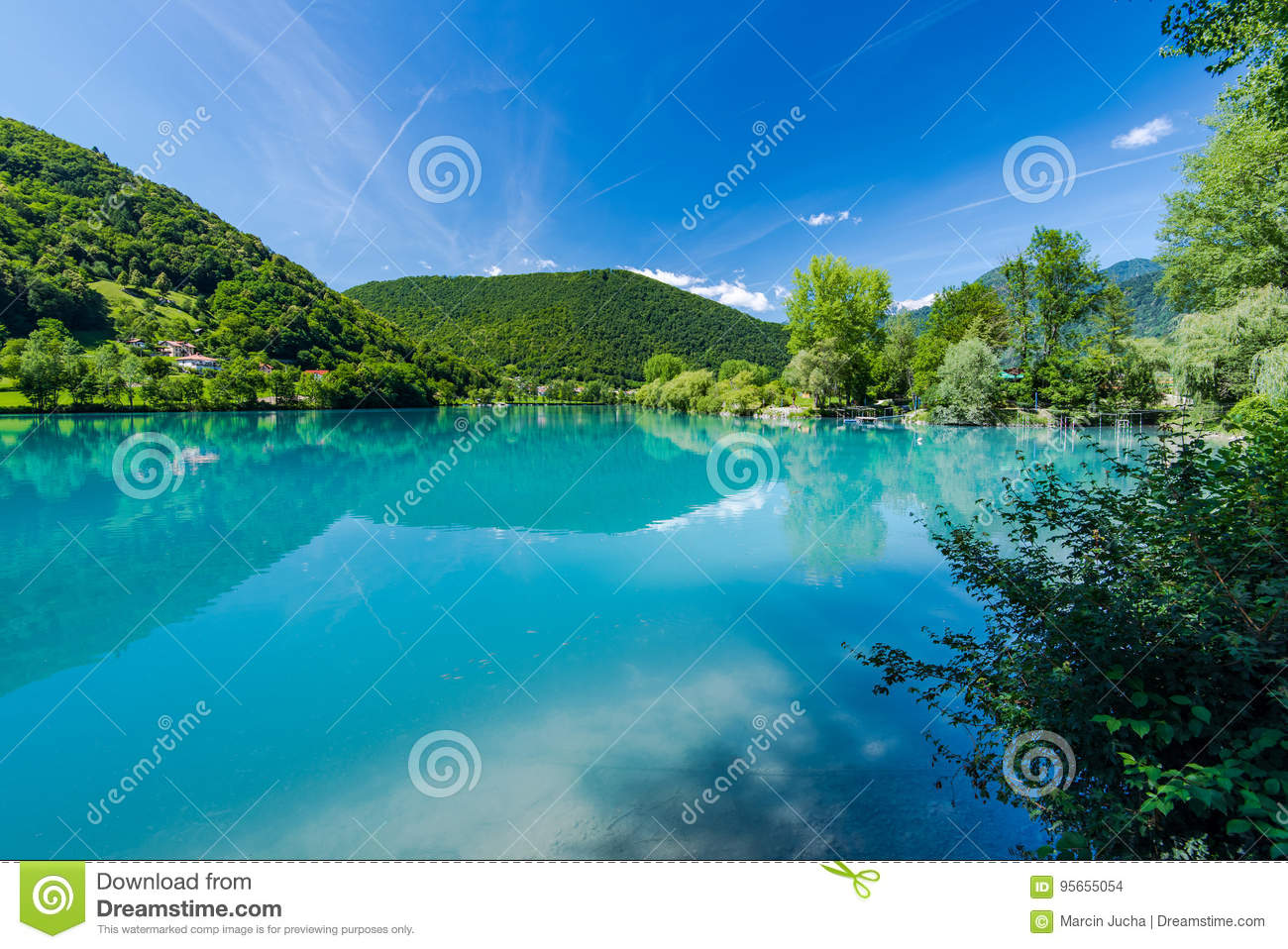 Turquoise water in Most na Soci lake in Slovenia