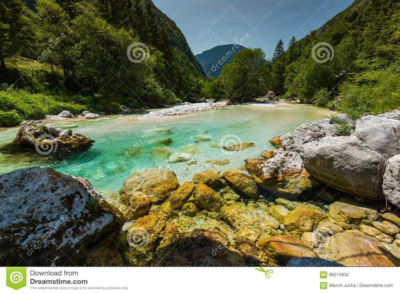Turquoise water in Soca river, Slovenia