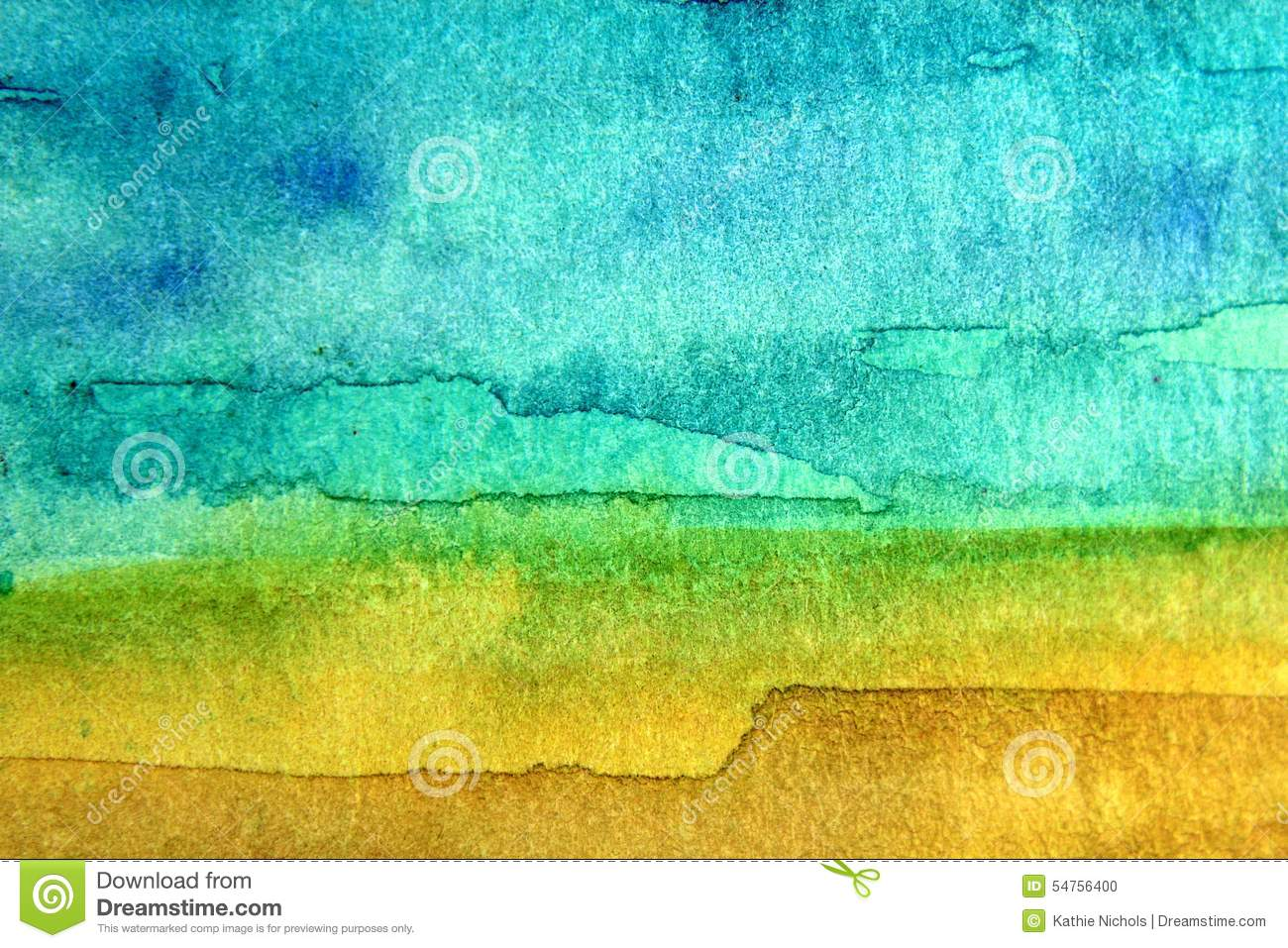 Turquoise And Yellow Watercolor 4 Stock Illustration