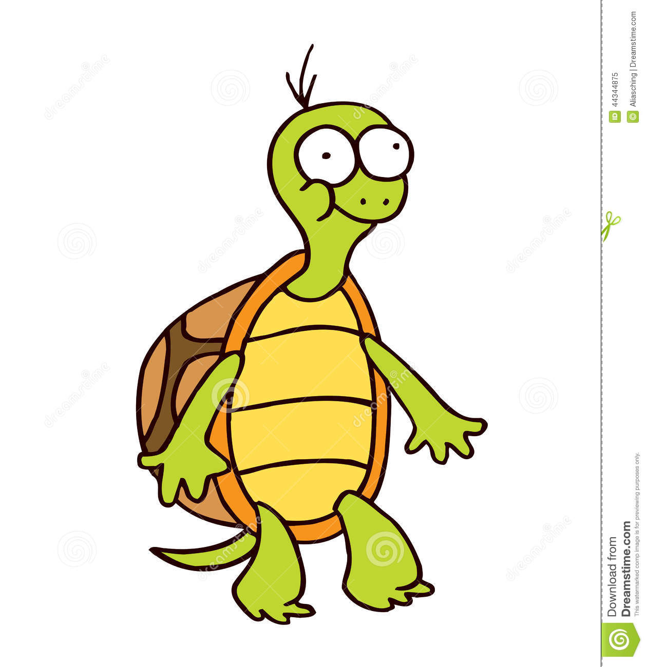 Turtle Cartoon Smiling Funny Character Stock Vector Illustration