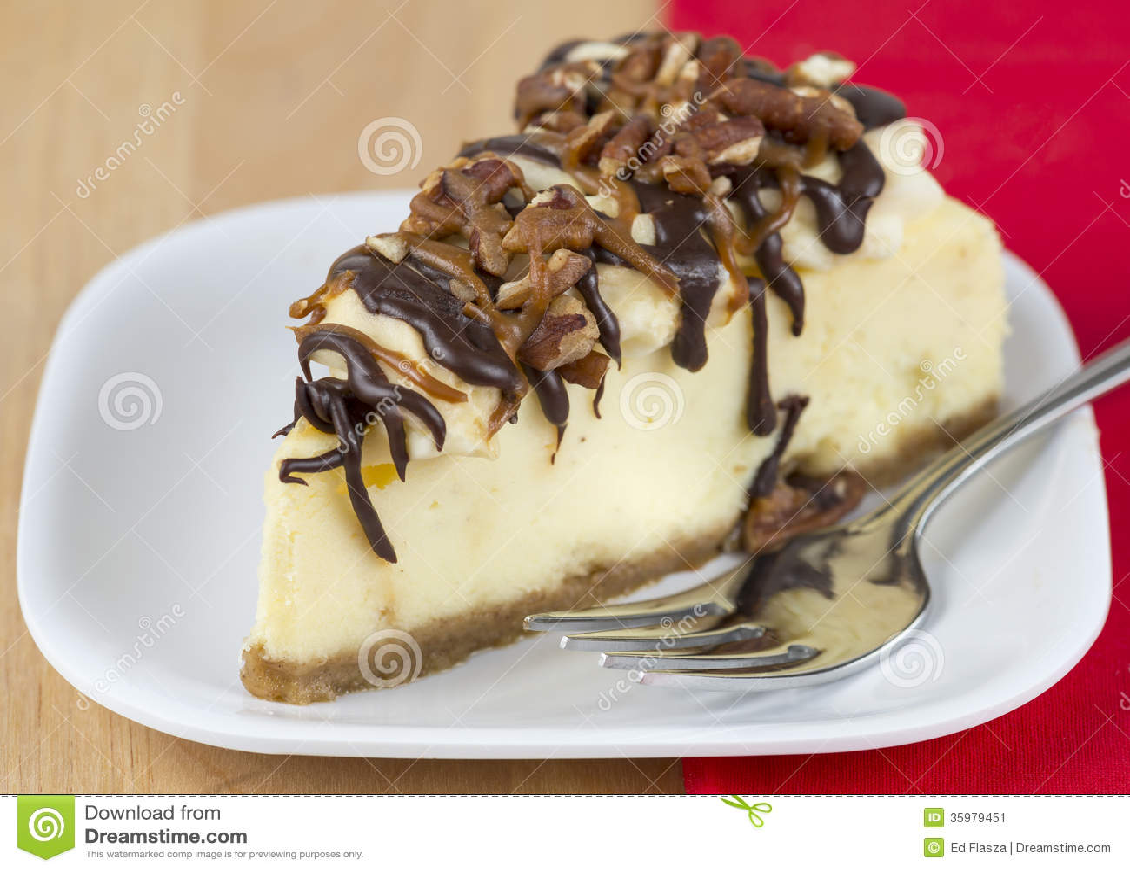 slice of sweet turtle cheesecake.