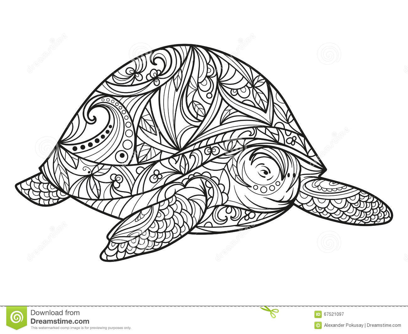 Turtle Coloring Book For Adults Vector Stock Vector ...