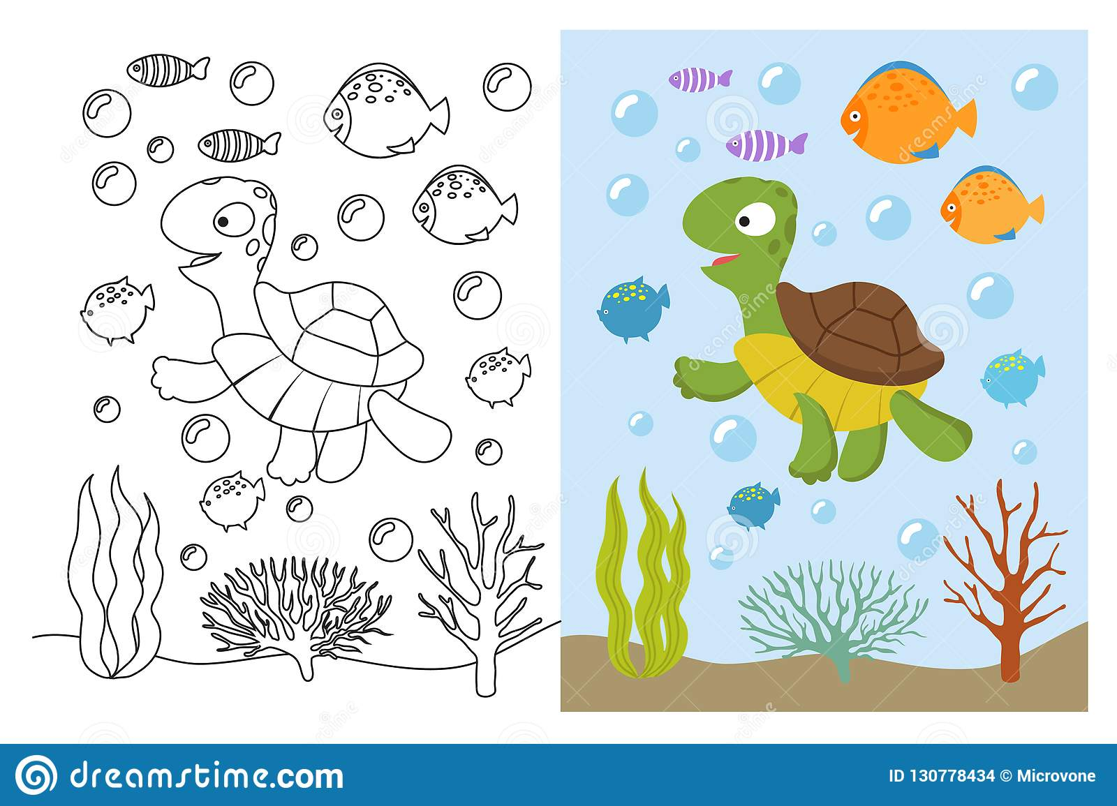turtle coloring pages cartoon swimming sea animals underwater vector illustration kids coloring book underwater sea turtle
