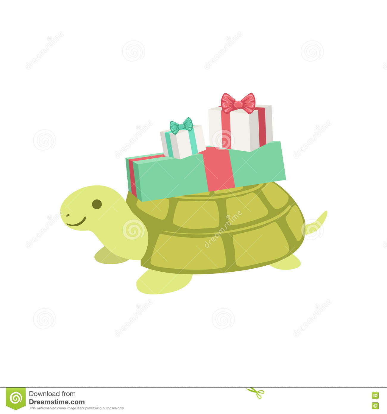 Turtle cute animal character attending birthday party