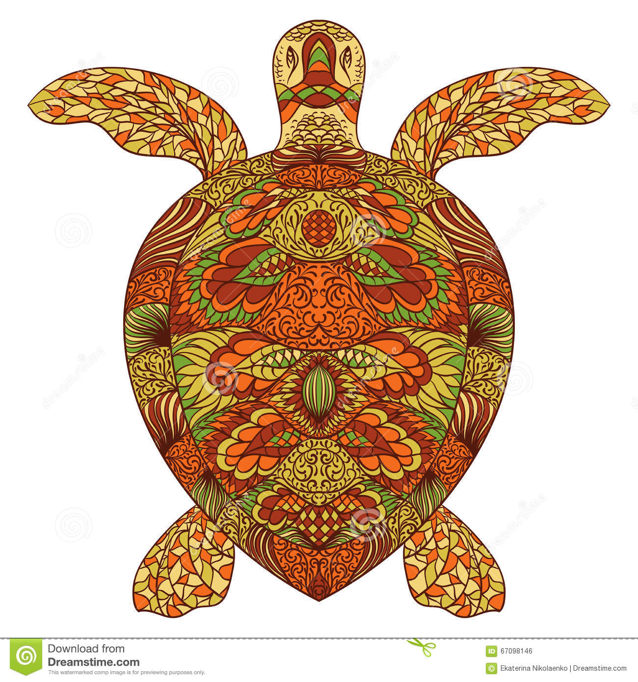 Turtle decorated with oriental ornaments. Hand drawn vector illustration