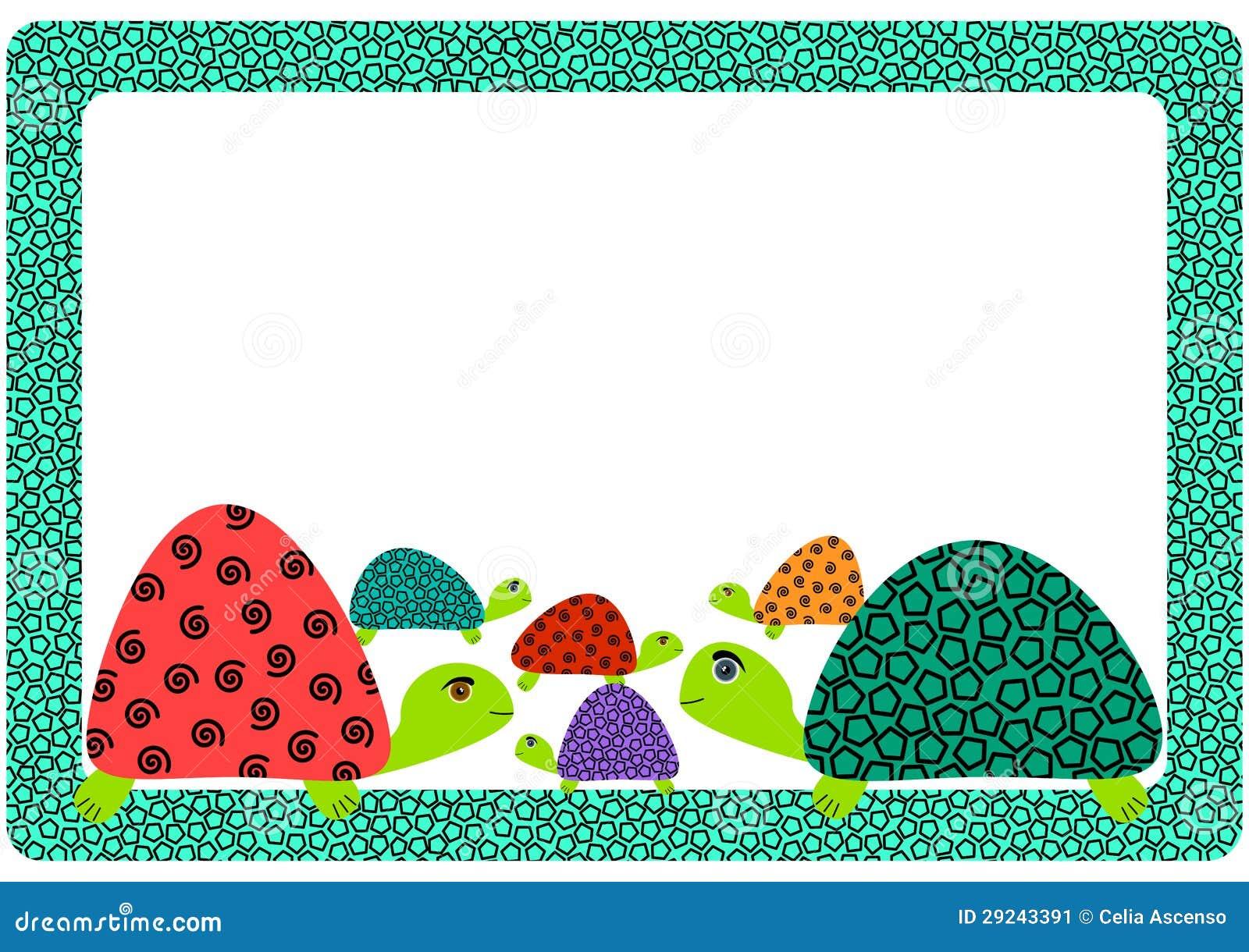Turtle Family Frame Invitation Card Stock Image - Image ...