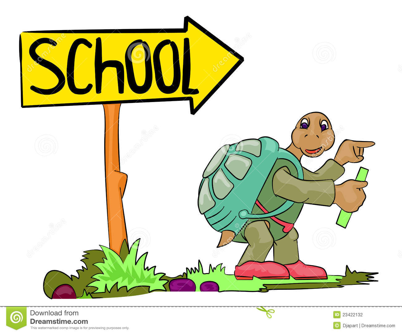 turtle go to school stock illustration illustration of happy 23422132