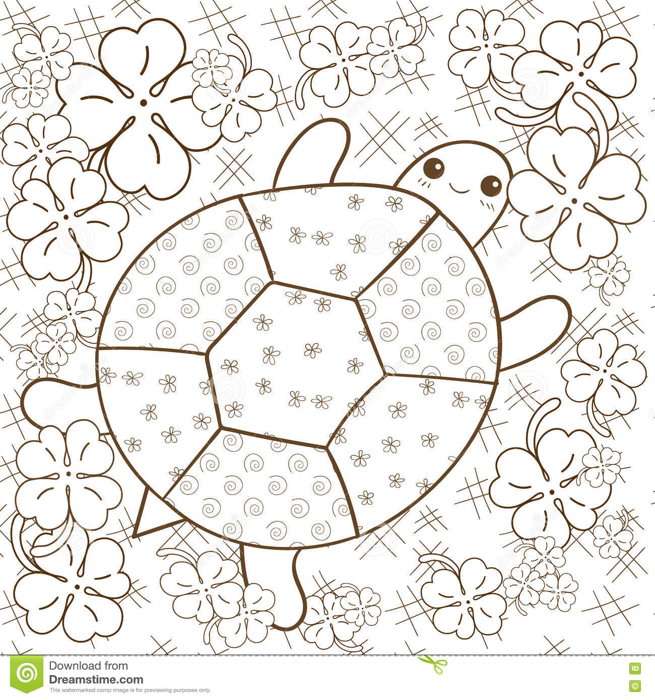 Cute Snail Adult Coloring Book Page Cartoon Vector