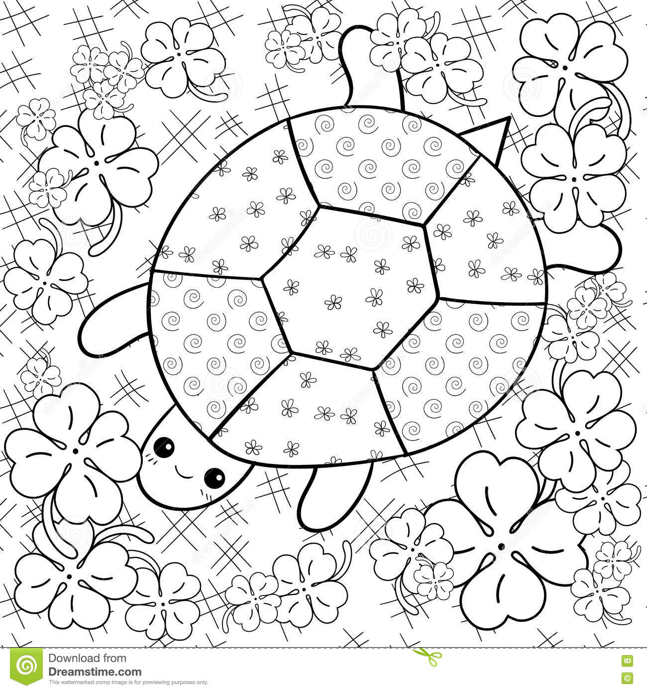 Coloring book landforms - Turtle Heaven Adult Coloring Book Page Turtle In Clover Garden Colouring Page