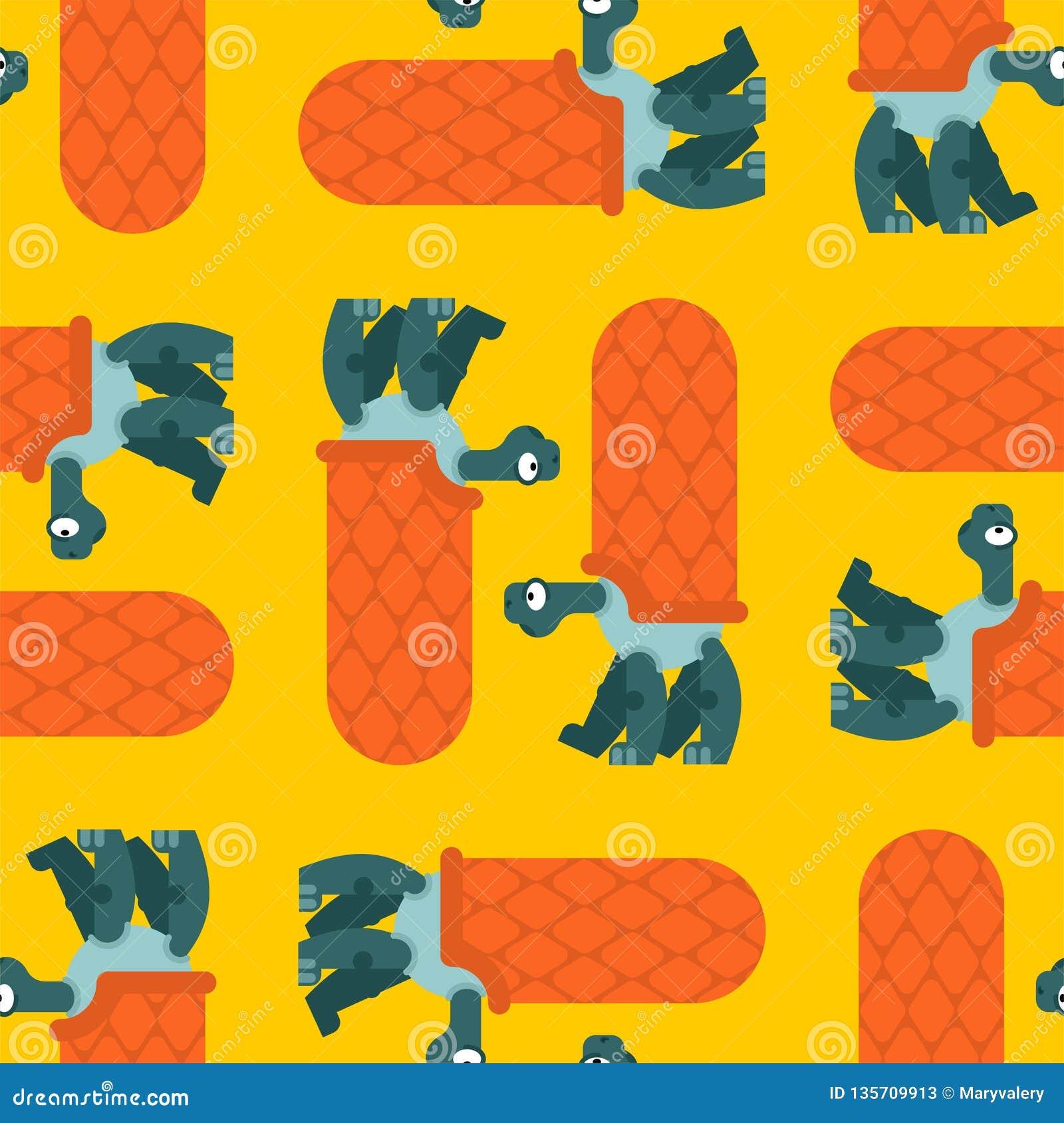 Turtle pattern seamless. Amphibian background. Childrens cloth texture. Animal Ornament