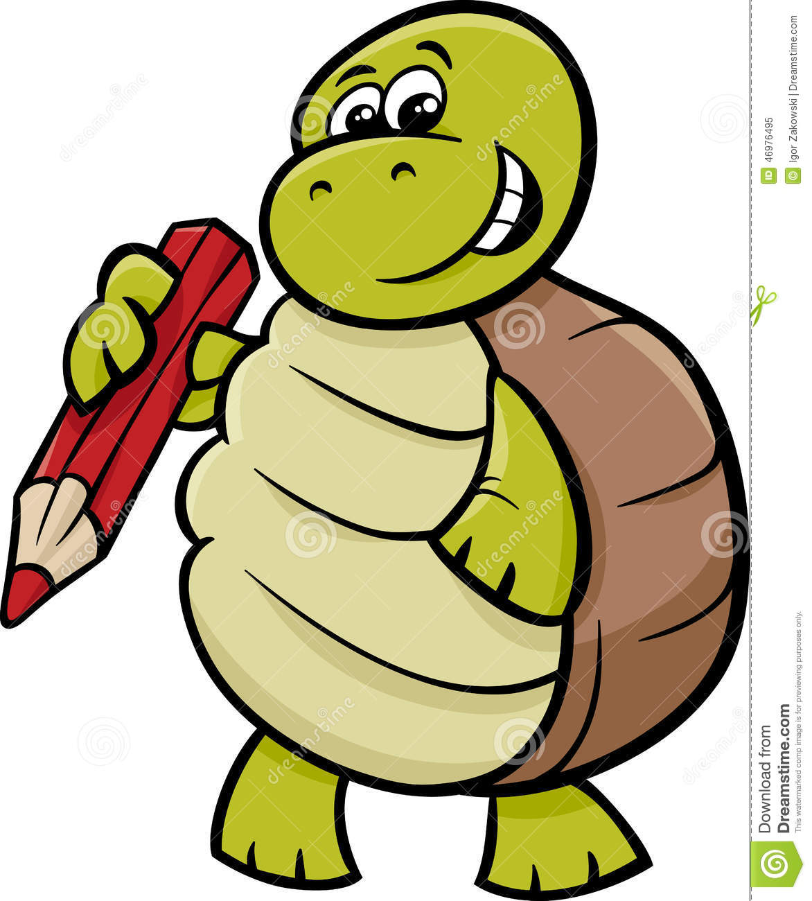 Turtle With Pencil Cartoon Illustration Stock Vector - Image: 46976495
