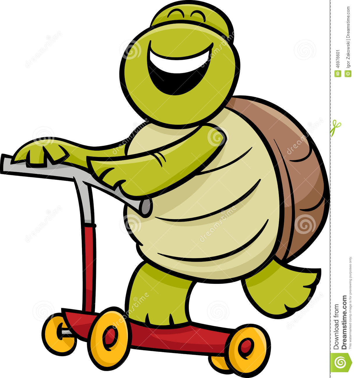 Turtle On Scooter Cartoon Illustration Stock Vector - Image: 46976601