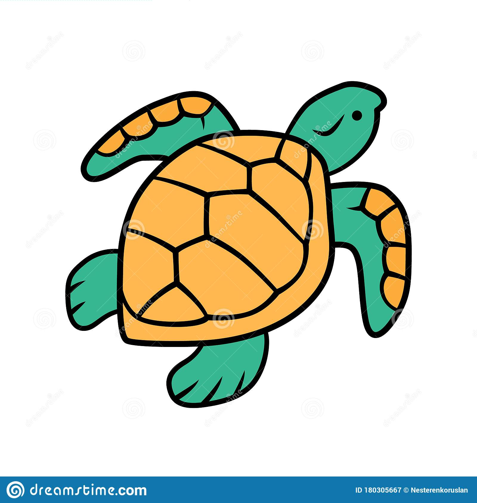 Turtle Yellow Color Icon. Slow Moving Reptile With Scaly ...