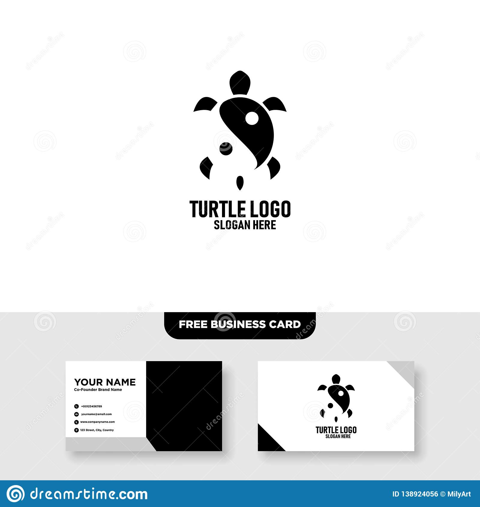 Turtle with yin yang element Logo Vector Template, Free Business Card Mockup
