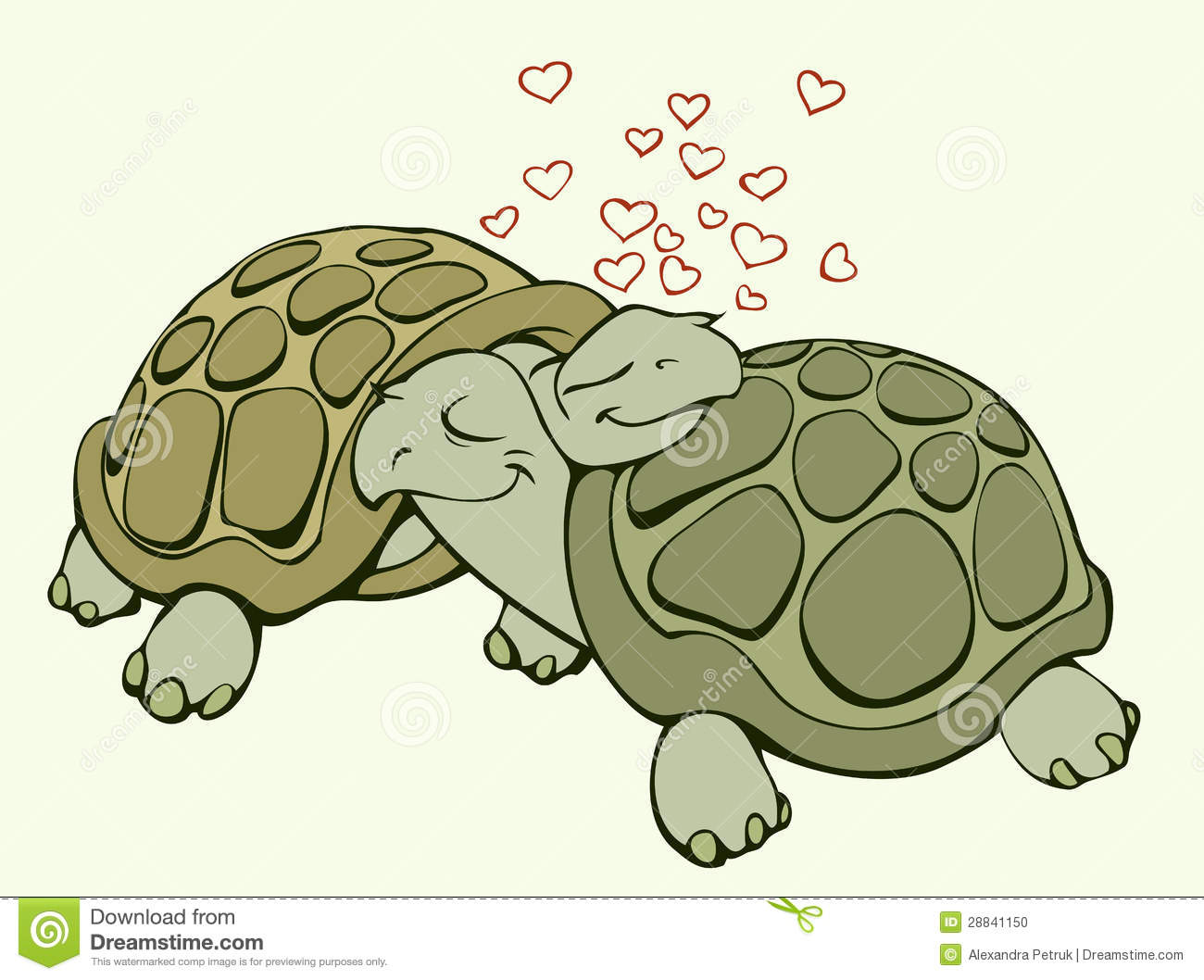 Cartoon Characters Kissing Each Other : Turtles in love stock photo image