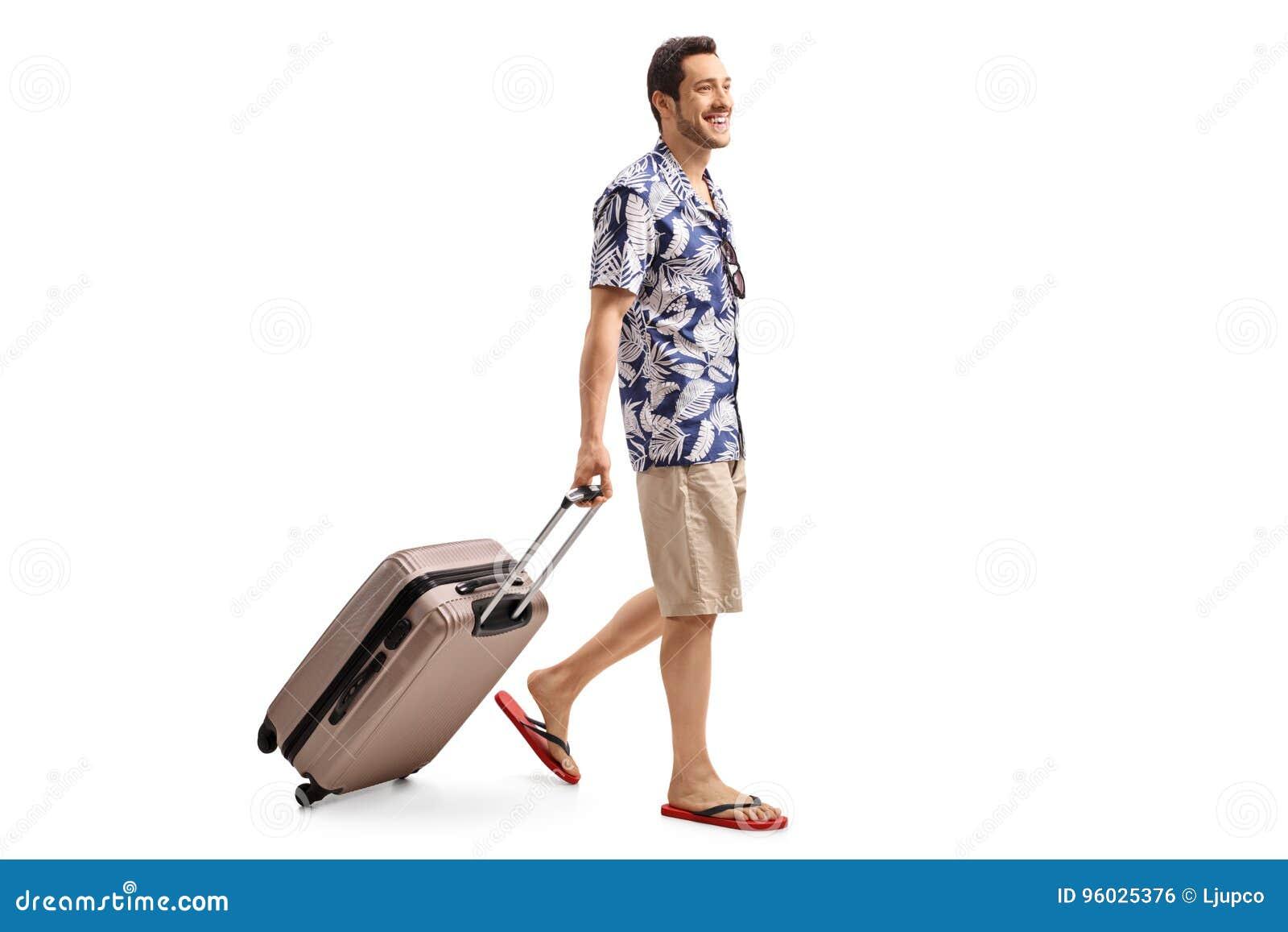 Turystyczny odprowadzenie i ciągnięcie walizka