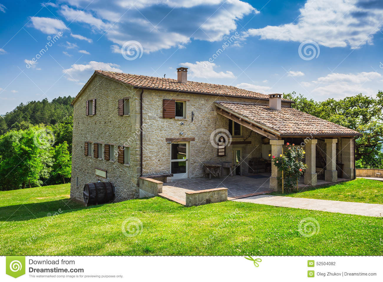 Tuscan Farmhouse In Italy Countryside Summer