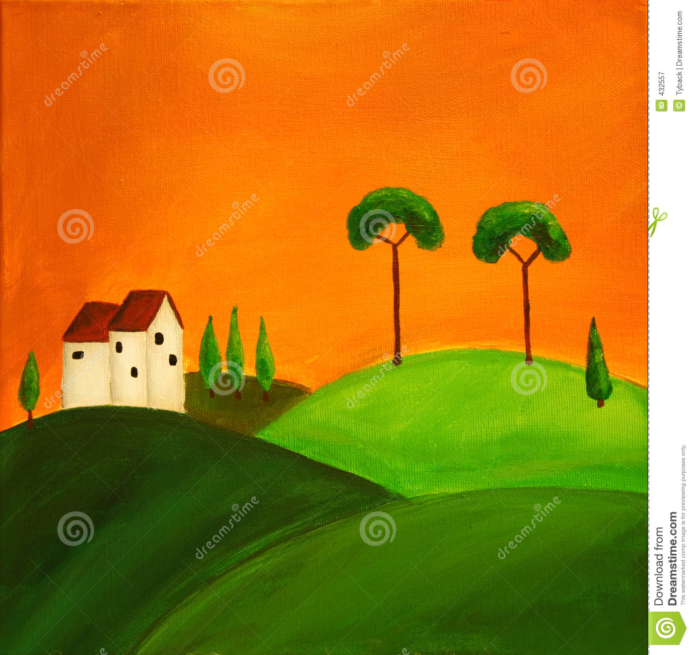 Tuscan landscape 1 stock illustration. Image of land ...