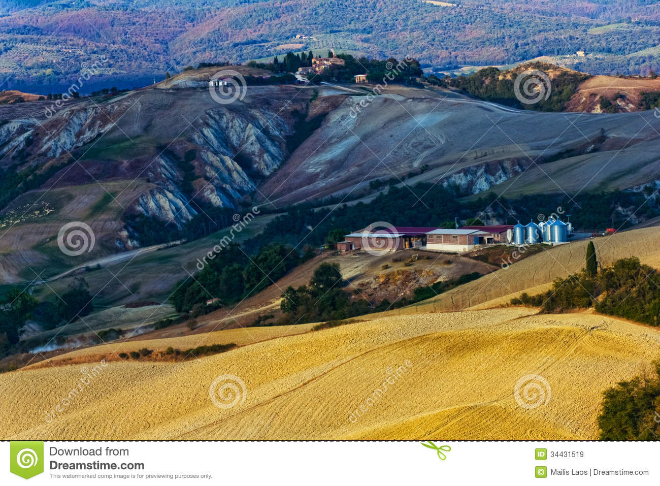 Download Tuscan Landscape stock image. Image of curvy, soil, curves - 34431519