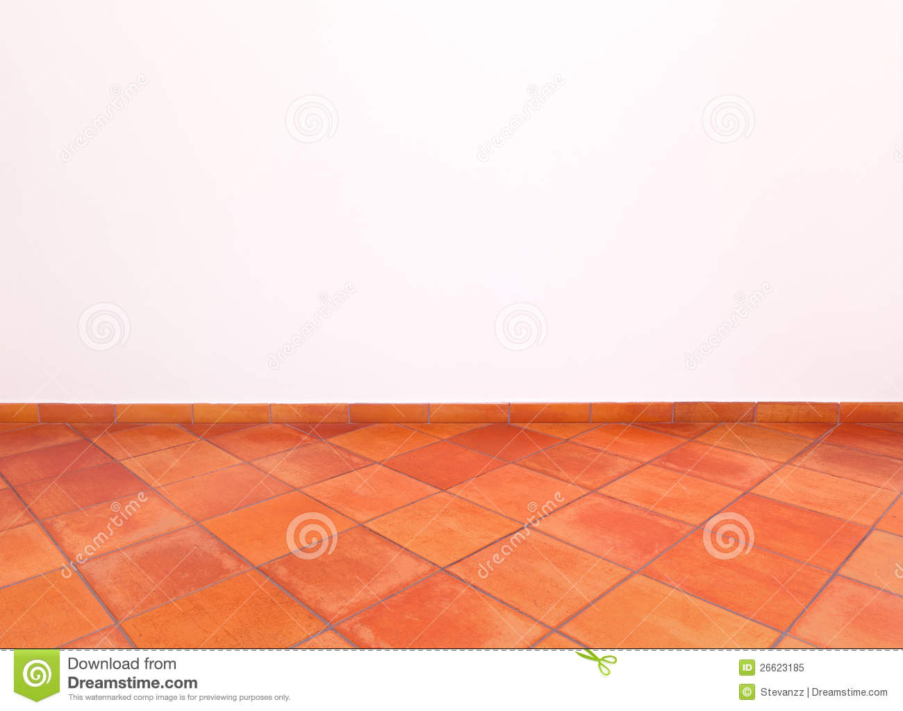 Tuscan Old Grunge Floor Red Tiles And Wall Stock Image