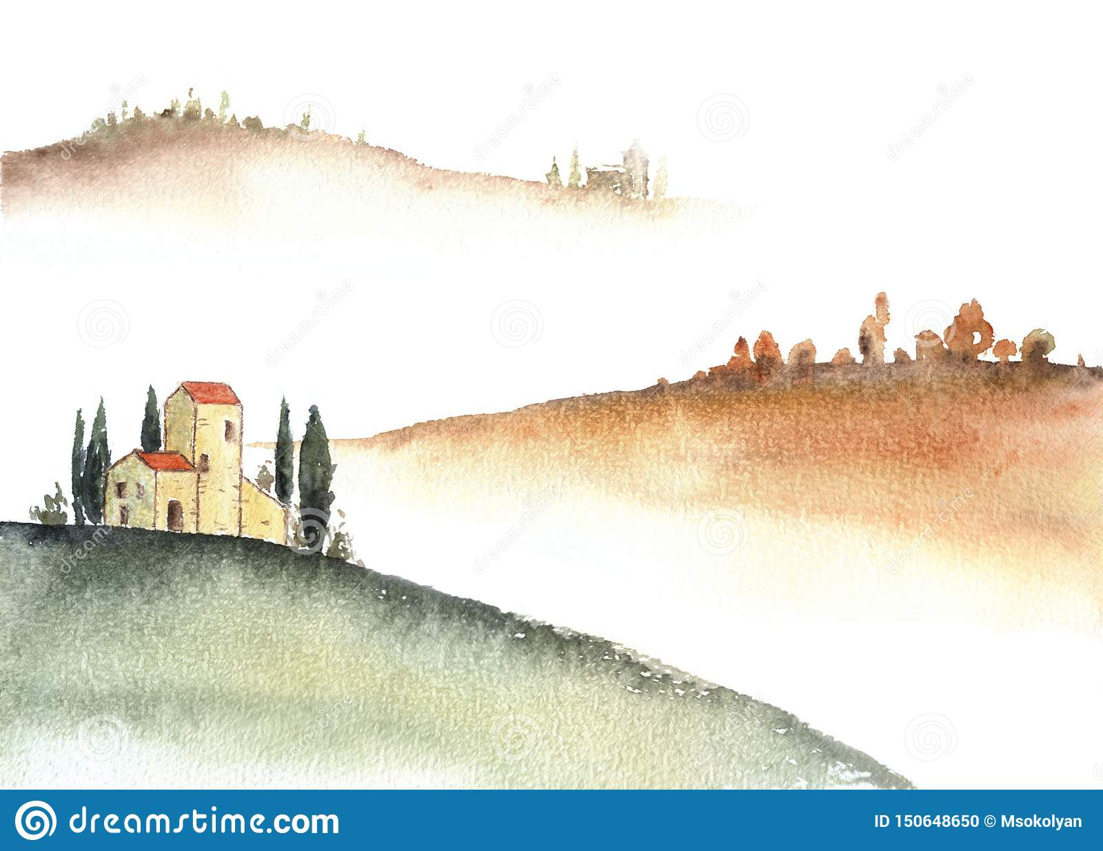 Tuscan villa and distant hills landscape watercolor painting.